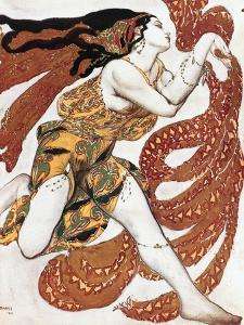 """Costume sketch for a Bacchante, from the ballet """" Narcissus"""", mythological poem ,1911. by Leon Bakst"""