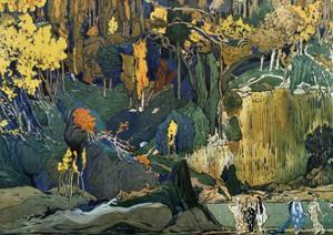 Décor for Debussy's Ballet L'Apres-Midi D'Un Faune (The Afternoon of a Fau), 1912 by Leon Bakst