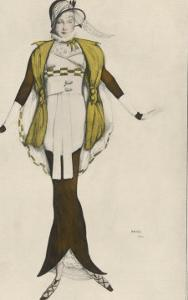 Hobble Skirt Costume Designed and Drawn by Bakst and Made by Paquin by Leon Bakst