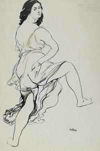 Portrait of Isadora Duncan Dancing (Brush and Indian Ink over Traces of Graphite by Leon Bakst