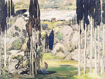 """Stage Set Design for Act I of """"Daphnis and Chloe"""" by Maurice Ravel by Leon Bakst"""