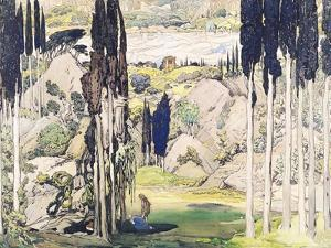 "Stage Set Design for Act I of ""Daphnis and Chloe"" by Maurice Ravel by Leon Bakst"