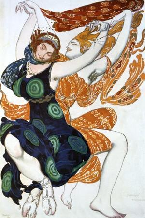 Two Bacchantes, Costume Design for a Ballets Russes Production of Tcherepnin's Narcisse, 1911