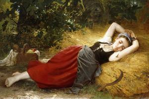 A Young Peasant Girl, Sleeping. 1874 by Leon Bazile Perrault