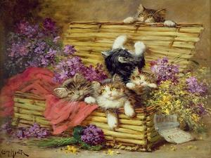 Kittens at Play by Leon-charles Huber