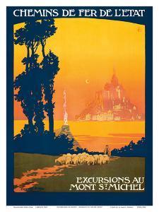 Excursions Au - Mont St. Michel - Normandy, France - French State Railways by Léon Constant-Duval