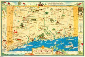 Historical Map of Connecticut by Leon des Rosiers