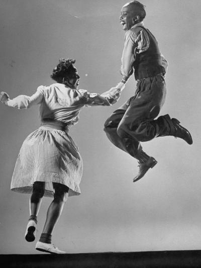 Leon James and Willa Mae Ricker Demonstrating a Step of the Lindy Hop-Gjon Mili-Premium Photographic Print
