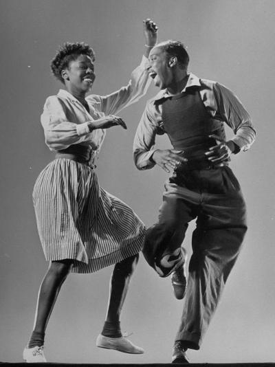 Leon James and Willa Mae Ricker Demonstrating a Step of the Lindy Hop-Gjon Mili-Premium Photographic Print