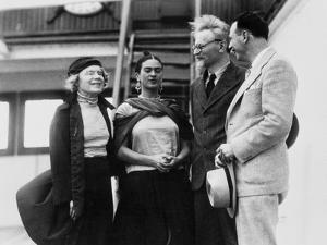 Leon Trotsky with His Wife Natalia Sedova and Mexican Artist Frida Kahlo, 1937