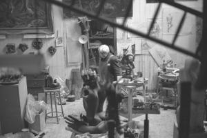 Leon Underwood in his studio with 'Phoenix for Europe', 1969