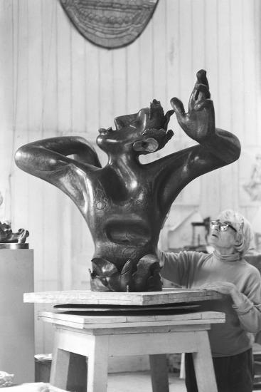 Leon Underwood in his studio with 'Phoenix for Europe', c.1971-72--Photographic Print