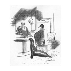 """""""Have you a room with twin beds?"""" - New Yorker Cartoon by Leonard Dove"""