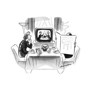 Woman sitting art breakfast table with husband hidden behind newspaper. Sh? - New Yorker Cartoon by Leonard Dove