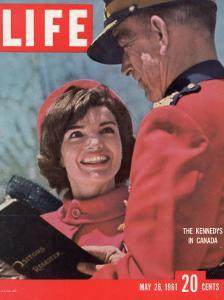 Jacqueline Kennedy Chatting with Canadian Mounted Policeman During Visit with JFK, May 26, 1961 by Leonard Mccombe