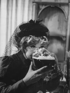"Lucille Ball Drinking Beer Between Scenes of a Skit in Show Called ""The Good Years"" by Leonard Mccombe"