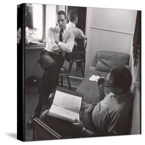 """Movie Director Vince Sherman with Actor Paul Newman Reviewing Script of """"The Young Philadelphians"""" by Leonard Mccombe"""