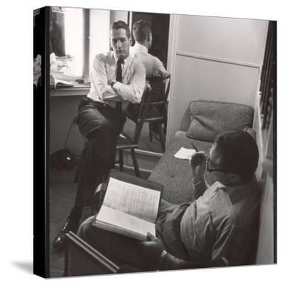 "Movie Director Vince Sherman with Actor Paul Newman Reviewing Script of ""The Young Philadelphians"""