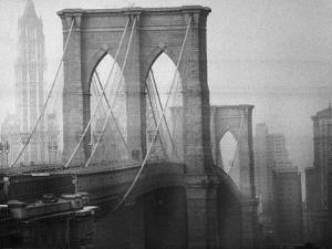 New York City's Brooklyn Bridge During a Bleak Afternoon by Leonard Mccombe