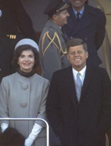 President Kennedy with First Lady Jackie at His Inauguration by Leonard Mccombe