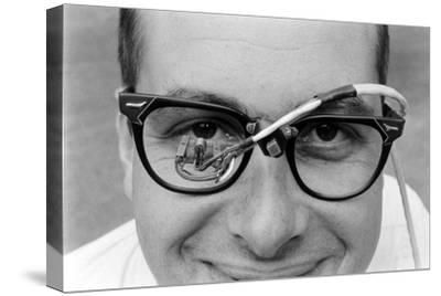 Professor Laurence R. Young Wearing Glasses Measuring Eye Movement, 1967