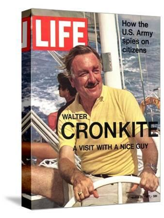 Walter Cronkite at Wheel of Boat, March 26, 1971