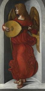 An Angel in Red with a Lute by Leonardo Da Vinci