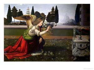 Angel Gabriel, from the Annunciation, 1472-75 (Detail) by Leonardo da Vinci