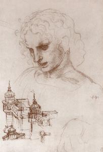 Apostle and Towers by Leonardo da Vinci