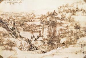 Arno Landscape, 5th August, 1473 by Leonardo da Vinci