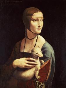 Cecilia Gallerani, Mistress of Ludovico Sforza, Portrait Known as Lady with the Ermine, c. 1490 by Leonardo da Vinci
