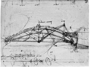 Design for a Parabolic Swing Bridge, 1480-1490 by Leonardo da Vinci