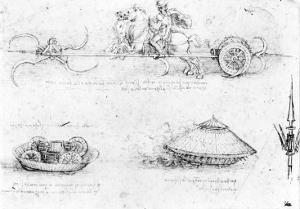 Design for a Scythed Chariot and Armoured Car, c.1487 by Leonardo da Vinci
