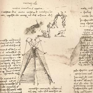 Diagram illustrating the theory of light and shade and sketches of figures, c1472-c1519 (1883) by Leonardo da Vinci