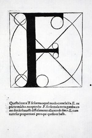 F, Illustration from 'Divina Proportione' by Luca Pacioli (C.1445-1517), Originally Pub. Venice,… by Leonardo da Vinci