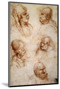 Five Studies of Grotesque Faces by Leonardo da Vinci