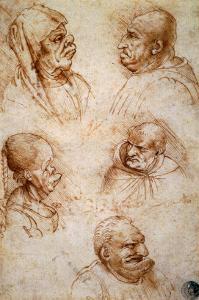 Five Studies of Grotesque Faces by Leonardo da Vinci