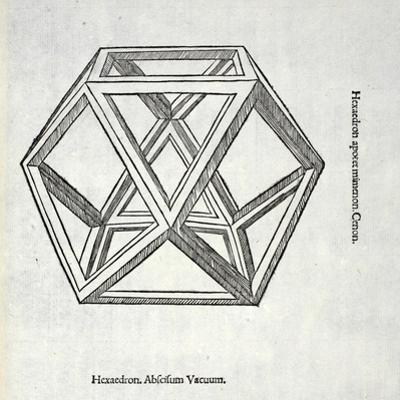 Hexaedron Abscisum Vacuum, Illustration from 'Divina Proportione' by Luca Pacioli (C.1445-1517),… by Leonardo da Vinci