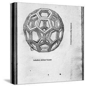 "Icosahedron, from ""De Divina Proportione"" by Luca Pacioli, Published 1509, Venice by Leonardo da Vinci"