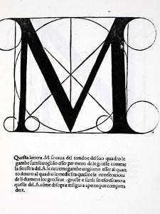 M, Illustration from 'Divina Proportione' by Luca Pacioli (C.1445-1517) by Leonardo da Vinci