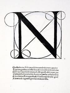 N, Illustration from 'Divina Proportione' by Luca Pacioli (C.1445-1517), Originally Pub. Venice,… by Leonardo da Vinci