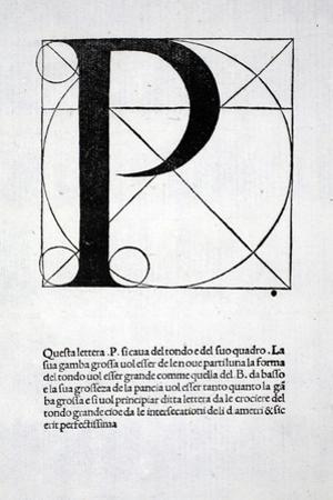 P, Illustration from 'Divina Proportione' by Luca Pacioli (C.1445-1517), Originally Pub. Venice,… by Leonardo da Vinci