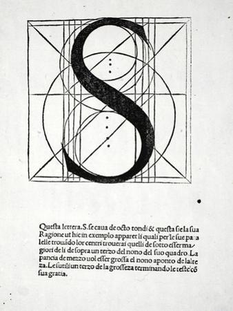 S, Illustration from 'Divina Proportione' by Luca Pacioli (C.1445-1517), Originally Pub. Venice,… by Leonardo da Vinci