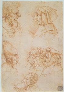Seven Studies of Grotesque Faces by Leonardo da Vinci