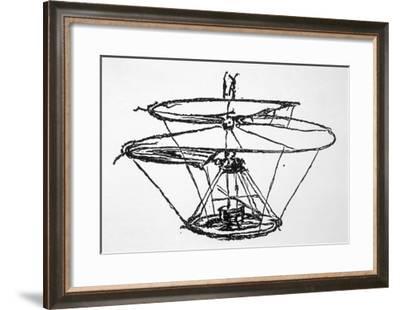 Leonardo Da Vinci Sketch of a Flying Machine--Framed Giclee Print