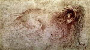 Sketch of a Roaring Lion by Leonardo da Vinci