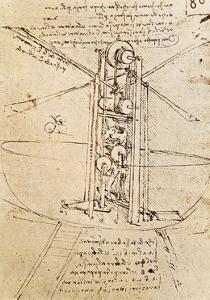 Vertically Standing Bird's-Winged Flying Machine, Fol. 80R from Paris Manuscript B, 1488-90 by Leonardo da Vinci
