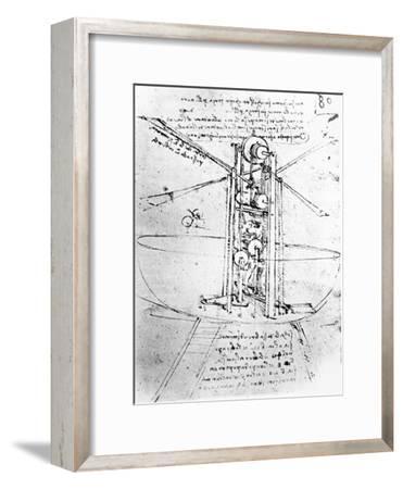Vertically Standing Bird's-winged Flying Machine, from Paris Manuscript B, 1488-90