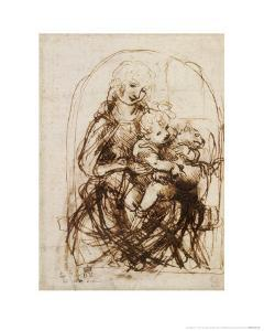 Virgin and Child with Cat, a Drawing by Leonardo da Vinci