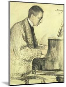 Portrait of Sergei Vasilievich Rachmaninov at the Piano, 1916 by Leonid Osipovic Pasternak